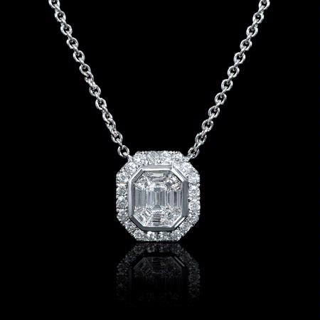 Diamond 18k White Gold Mosaic Pendant Necklace