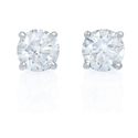 Diamond 1.23 Carats 14k White Gold Stud Earrings