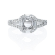 .54ct Diamond 18k White Gold Split Shank Halo Engagement Ring Setting