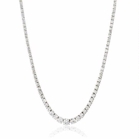 Diamond 14k White Gold Graduated Tennis Necklace