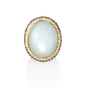 Diamond and Moonstone 18k Yellow Gold Ring