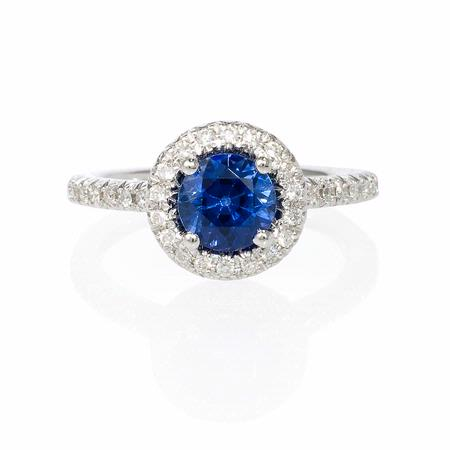 Diamond and Blue Sapphire 14k White Gold Ring