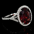 .74ct Diamond and Rhodolite 14k White Gold Ring