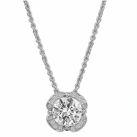Ritani Floral Collection Diamond 18k White Gold Pendant Necklace