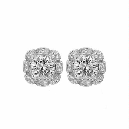 Ritani Floral Collection Diamond 18k White Gold Earring Jackets