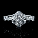 Diamond 18k White Gold Flower Ring