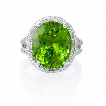 Diamond and Peridot Antique Style 18k White Gold Ring