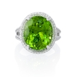 .56ct Diamond and Peridot Antique Style 18k White Gold Ring
