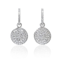 Diamond 18k White Gold Reversible Drop Dangle Earrings