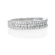 .50ct Diamond Three Row 18k White Gold Wedding Band Ring
