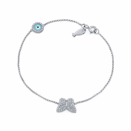 Diamond 14k White Gold Butterfly Fish and Evil Eye Bracelet