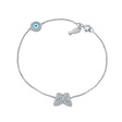 .23ct Diamond 14k White Gold Butterfly Fish and Evil Eye Bracelet