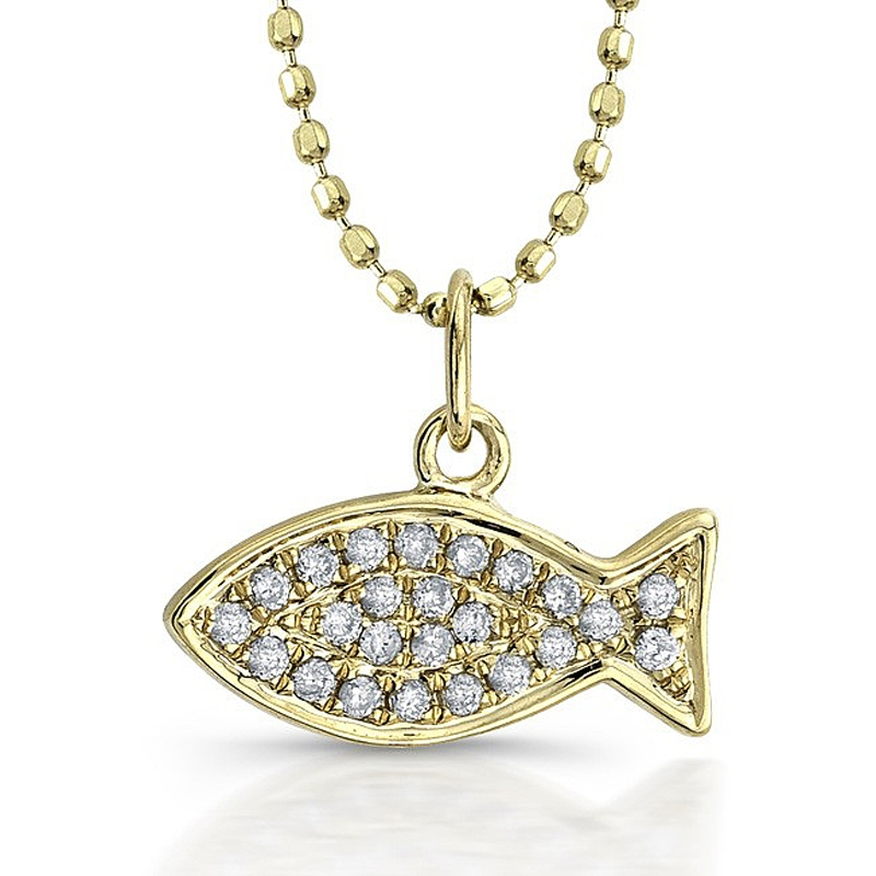 11ct diamond 14k white gold fish ichthus pendant necklace for Gold fish pendant