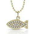 .11ct Diamond 14k White Gold Fish (Ichthus) Pendant Necklace