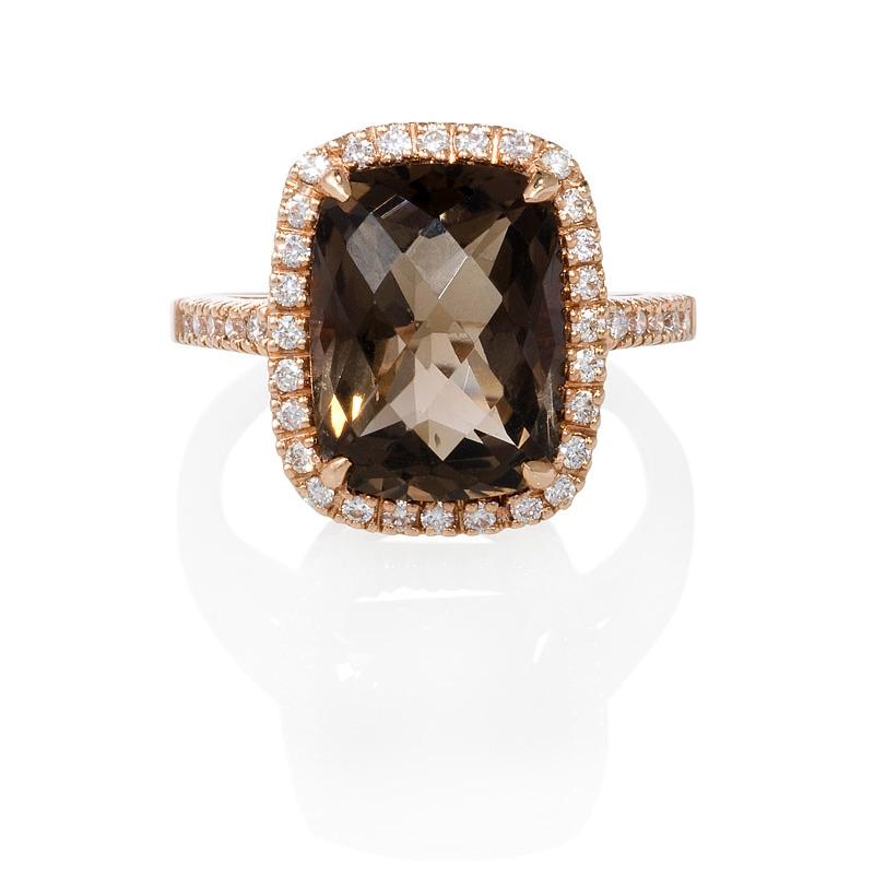 30ct Diamond And Smokey Topaz 14k Rose Gold Ring