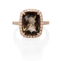 Diamond and Smokey Topaz 14k Rose Gold Ring