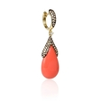 1.14ct Diamond and Coral 14k Yellow Gold Dangle Earrings