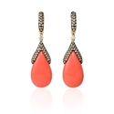 Diamond and Coral 14k Yellow Gold Dangle Earrings