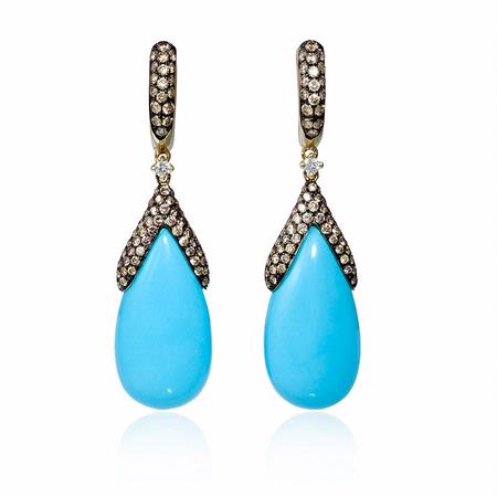 1.16ct Diamond and Turquoise 14k Yellow Gold Dangle Earrings