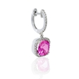 .23ct Diamond and Pink Quartz 14k White Gold Dangle Earrings