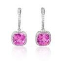 Diamond and Pink Quartz 14k White Gold Dangle Earrings