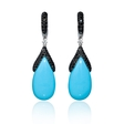 .05ct Diamond and Turquoise 14k White Gold Dangle Earrings