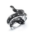 1.88ct Black and White Collection Diamond 14k White Gold Pave Snake Ring