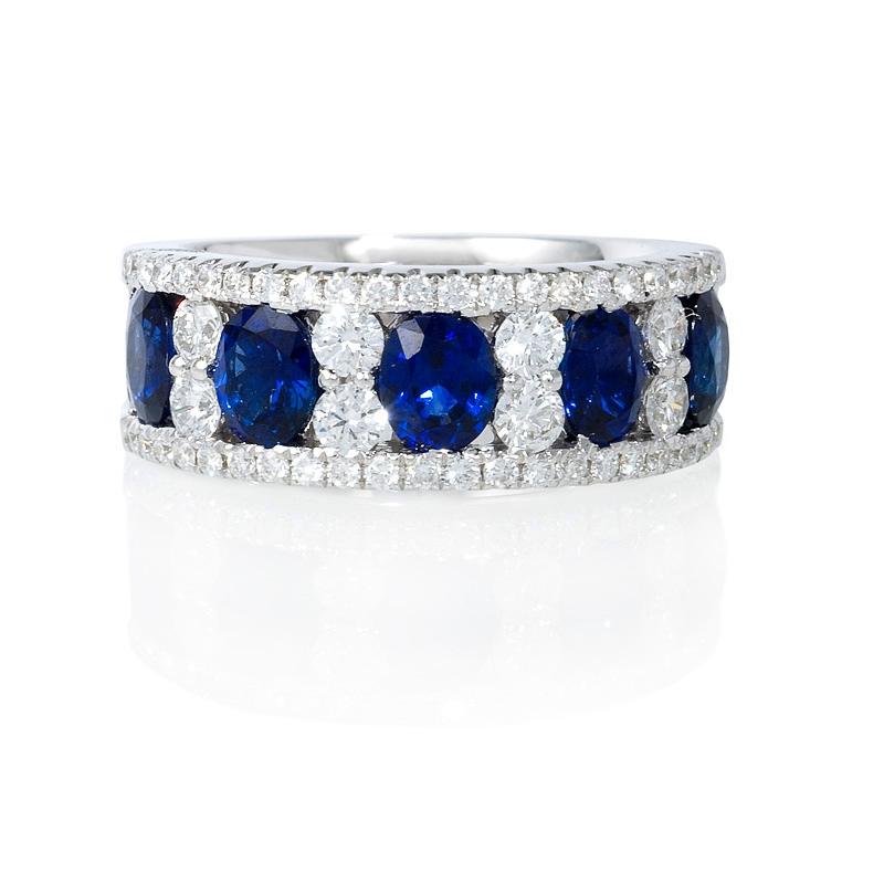 84ct Diamond and Oval Blue Sapphire 18k White Gold Wide Band Ring