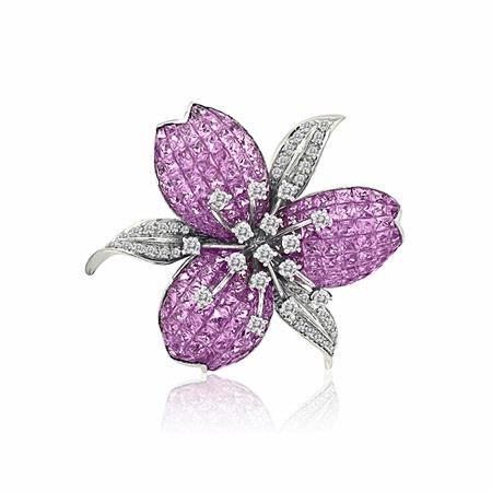 Le Vian Diamond and Pink Sapphire 18k White Gold Floral Pin