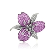 .85ct Le Vian Diamond and Pink Sapphire 18k White Gold Floral Pin