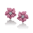 .63ct Le Vian Diamond and Pink Sapphire 18k White Gold Earrings
