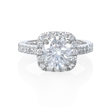 .45ct Diamond Antique Style 18k White Gold Halo Engagement Ring Setting