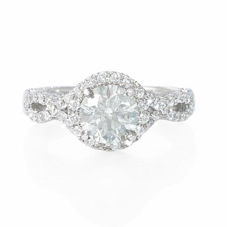 Diamond Platinum Halo Antique Style Engagement Ring Setting