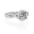 .43ct Diamond Platinum Antique Style Halo Engagement Ring Setting