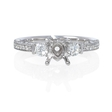 .43ct Diamond Antique Style 18k White Gold Engagement Ring Setting