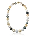 Multi-Colored South Sea Pearl 14k Yellow Gold Necklace