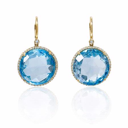 Diamond and Blue Topaz 14k Yellow Gold Dangle Earrings