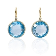 .31ct Diamond and Blue Topaz 14k Yellow Gold Dangle Earrings