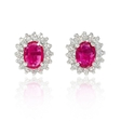 .64ct Diamond and Ruby 14k White Gold Earrings