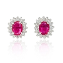 Diamond and Ruby 14k White Gold Earrings