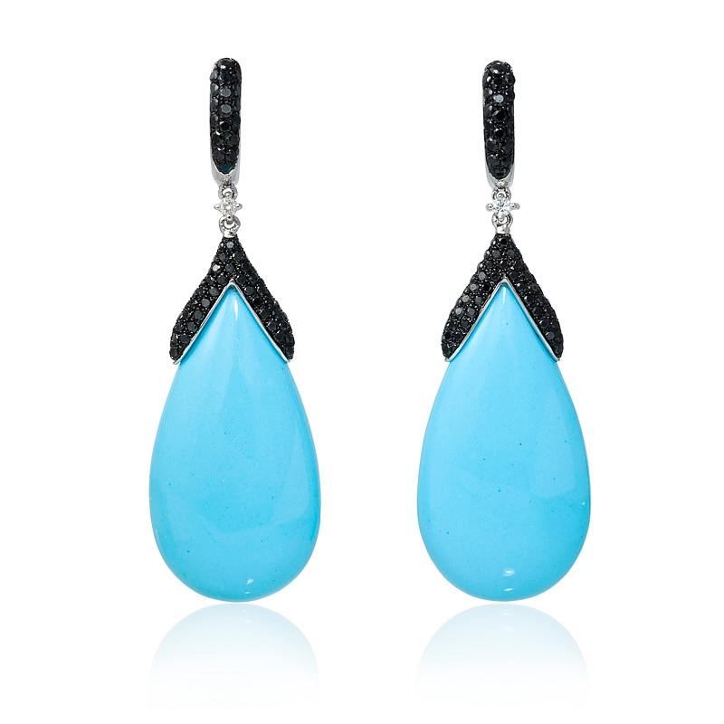 diamond and turquoise 14k white gold dangle earrings. Black Bedroom Furniture Sets. Home Design Ideas