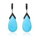 Diamond and Turquoise 14k White Gold Dangle Earrings