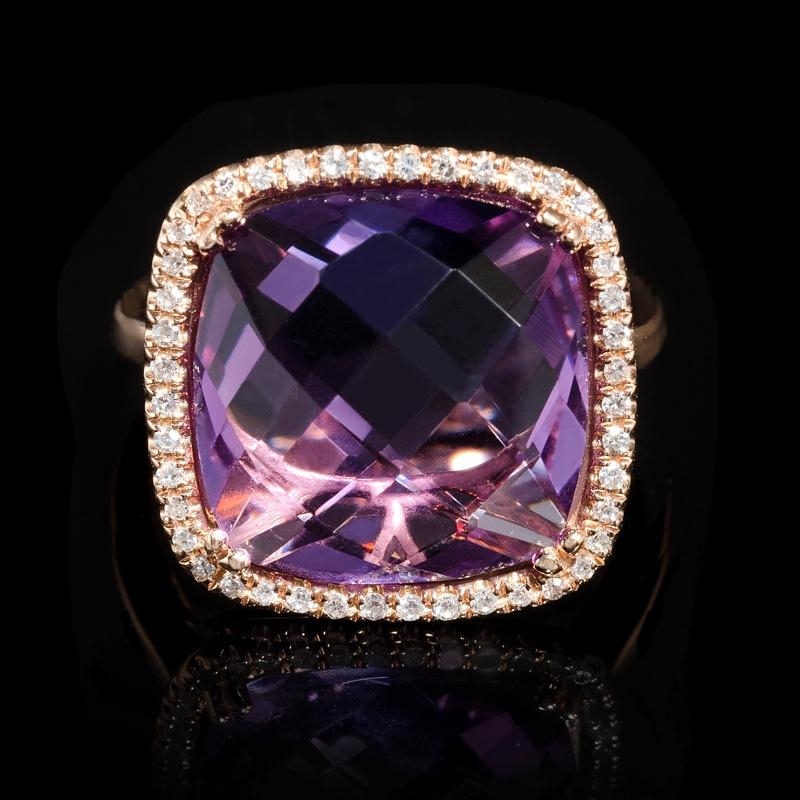 Rose Gold Ring Pink Amethyst Rose Gold Ring
