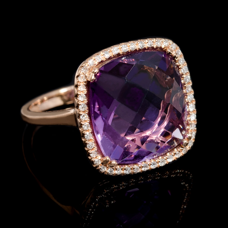 gold ring pink amethyst gold ring