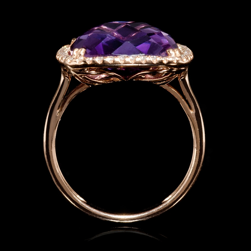 13ct Diamond And Pink Amethyst 14k Rose Gold Ring