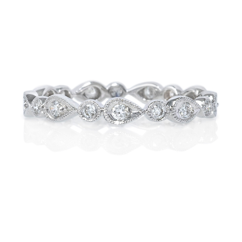25ct antique style 18k white gold eternity ring