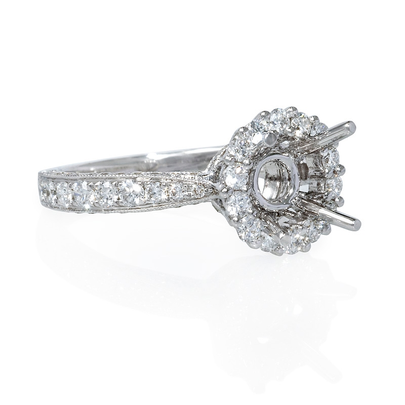 1 13ct antique style 18k white gold halo