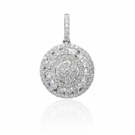 Diamond 18k White Gold Cluster Pendant