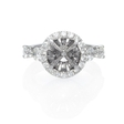 1.23ct Diamond Antique Style 18k White Gold Halo Engagement Ring Setting