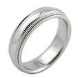 Men's 14k White Gold Antique Style Comfort Fit Wedding Band Ring